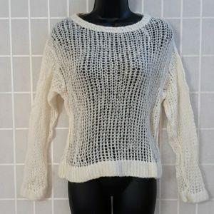 Free People Alpaca/Wool Sexy White Crop Sweater XS